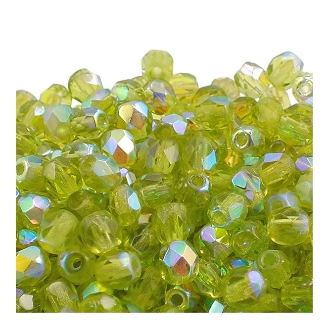 4mm Czech Faceted Round Glass Bead - Olivine AB - 50pk