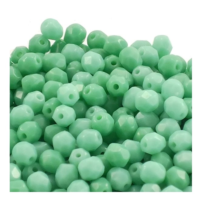 4mm Czech Faceted Round Glass Bead - Opaque Green Turquoise - 50pk