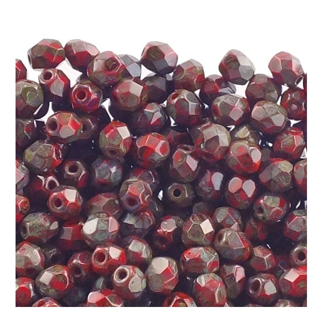 4mm Czech Faceted Round Glass Bead - Opaque Red Picasso - 50pk