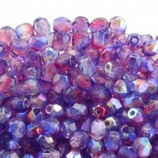 4mm Czech Faceted Round Glass Bead - Pink/Blue AB - 50pk