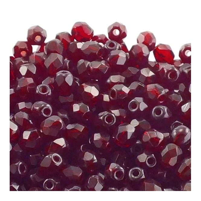 4mm Czech Faceted Round Glass Bead - Ruby - 50pk