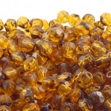 4mm Czech Faceted Round Glass Bead - Tortoise - 50pk
