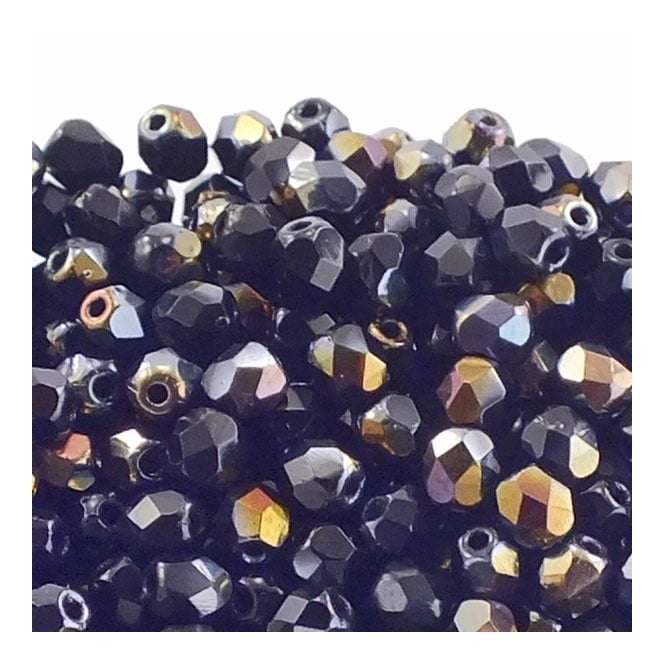 4mm Czech Faceted Round Glass Bead - Twilight Jet - 50pk