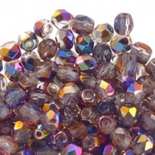 4mm Czech Faceted Round Glass Bead - Vitex/Crystal - 50pk