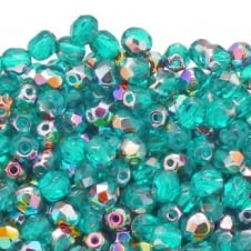 4mm Czech Faceted Round Glass Bead - Vitral/Teal - 50pk