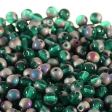 4mm Czech Glass Round Pressed Beads - Frosted Teal Vitrail - 100pk