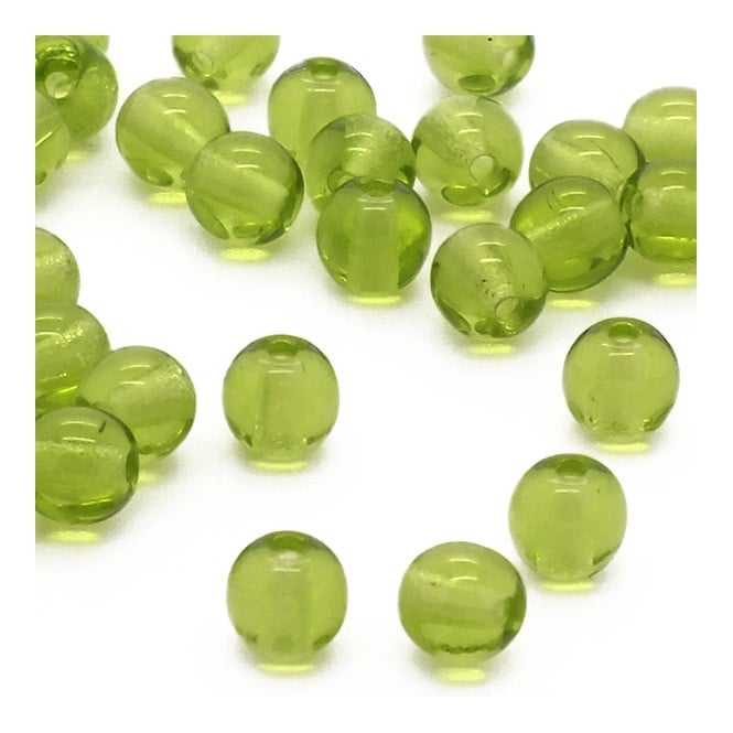 4mm Czech Glass Round Pressed Beads - Olivine - 100pk
