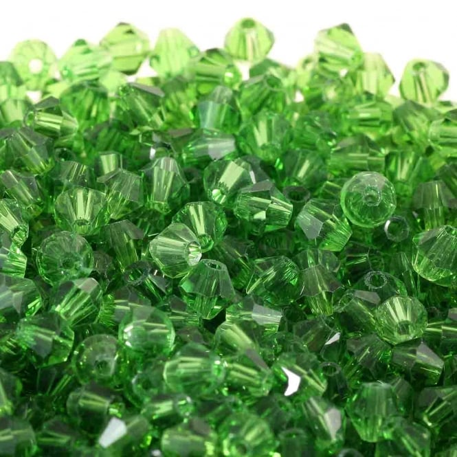 4mm Faceted Bicone Crystal Glass Beads - Green - 100pk
