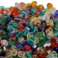 4mm Faceted Bicone Crystal Glass Beads - Mix Colours - 100pk