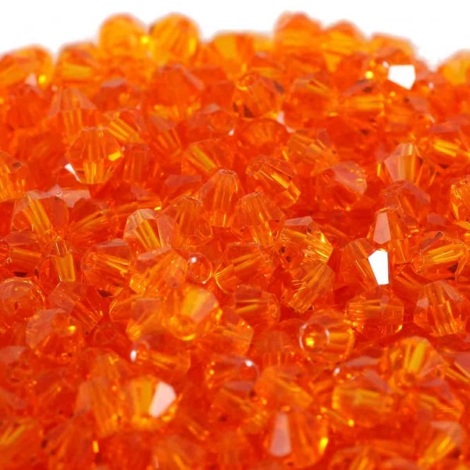 4mm Faceted Bicone Crystal Glass Beads - Orange - 100pk