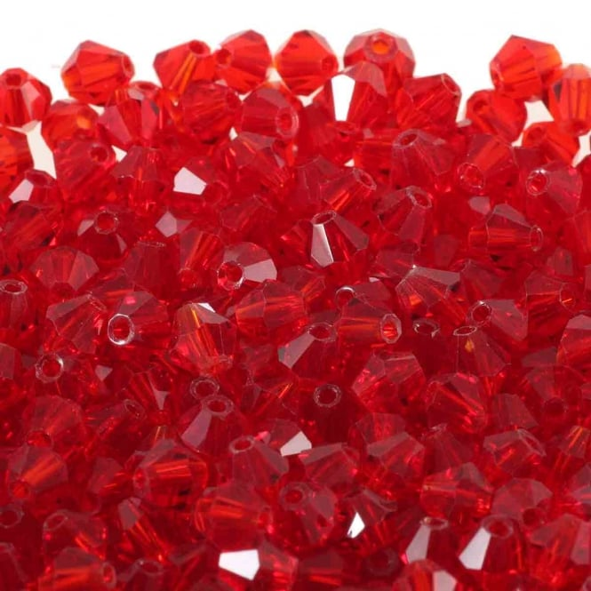 4mm Faceted Bicone Crystal Glass Beads - Red - 100pk