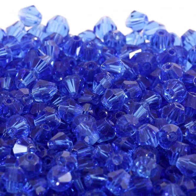 4mm Faceted Bicone Crystal Glass Beads - Sapphire - 100pk