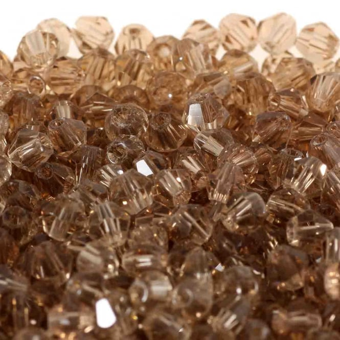 4mm Faceted Bicone Crystal Glass Beads - Smoky Quartz - 100pk
