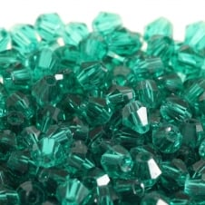 4mm Faceted Bicone Crystal Glass Beads - Teal - 100pk