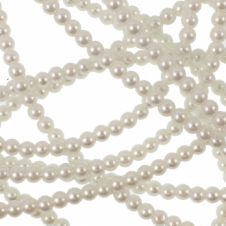 4mm Round Glass Pearl Beads - White - 1 String (220 Beads)