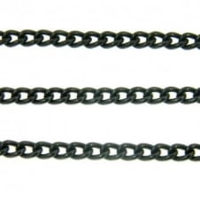 4x4.5mm Small Steel Curb Chain - Black Plated - 1m