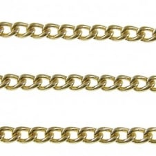 4x4.5mm Small Steel Curb Chain - Gold Plated - 1m