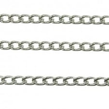 4x4.5mm Small Steel Curb Chain - Silver Plated - 1m