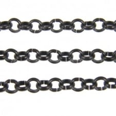 4x4mm Steel Belcher Chain - Black Plated - 1m