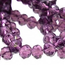 4x6mm Faceted Glass Rondelles - Amethyst - 50pk