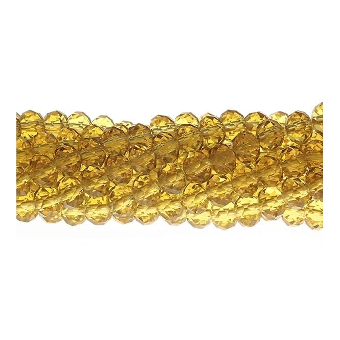 4x6mm Faceted Glass Rondelles - Antique Yellow - 50pk