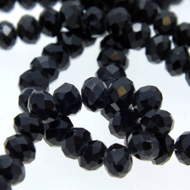 25  Jet Black Ebony Rondelle Crystal Faceted Beads  6mm x 4mm