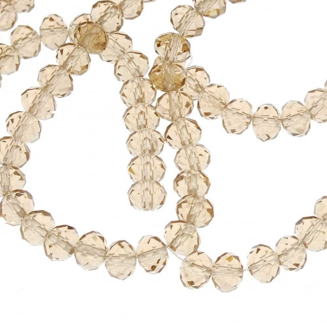 4x6mm Faceted Glass Rondelles - Champagne - 50pk