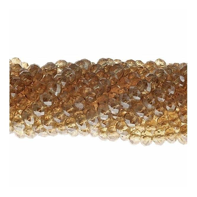 4x6mm Faceted Glass Rondelles - Champagne Lustre - 50pk