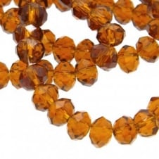 4x6mm Faceted Glass Rondelles - Dark Topaz - 50pk
