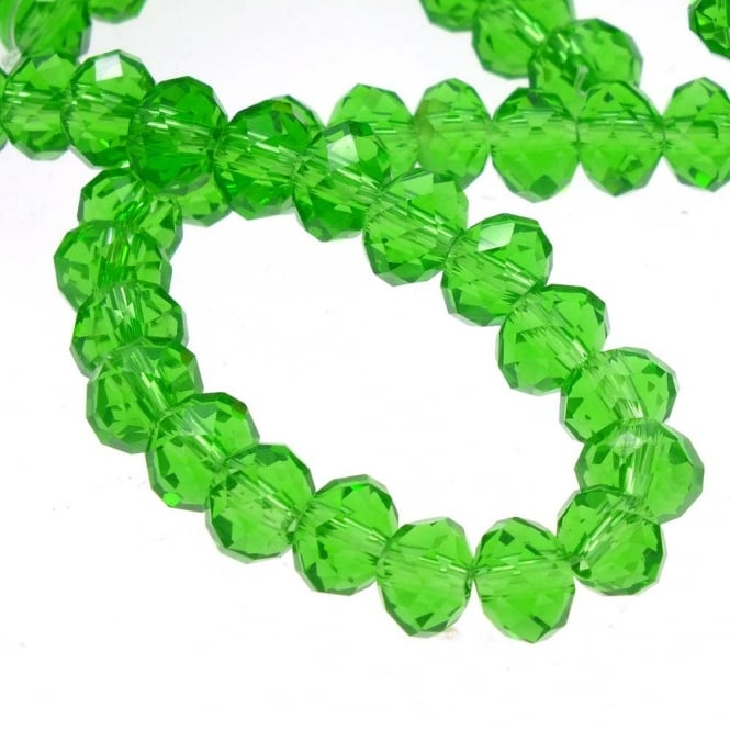 4x6mm Faceted Glass Rondelles - Green - 50pk