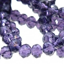 4x6mm Faceted Glass Rondelles - Indigo - 50pk