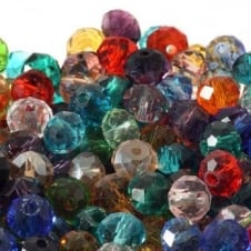 4x6mm Faceted Glass Rondelles - Mix Colours - 50pk