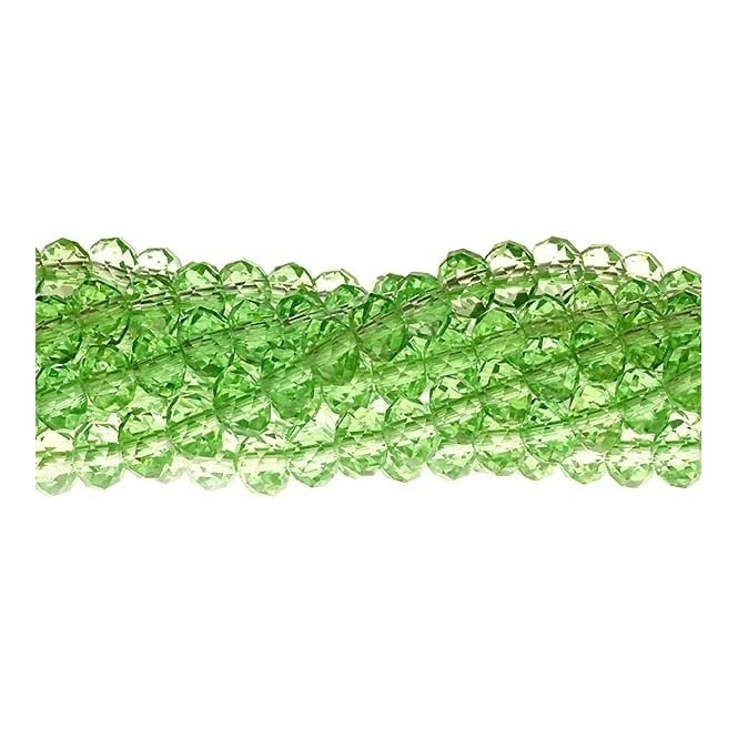 4x6mm Faceted Glass Rondelles - Peridot - 50pk