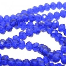 4x6mm Faceted Glass Rondelles - Royal Blue - 50pk