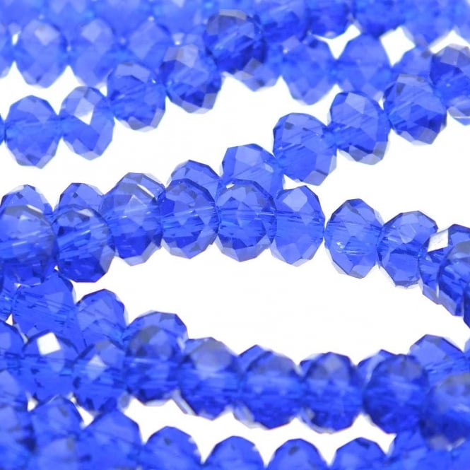 4x6mm Faceted Glass Rondelles - Sapphire - 50pk