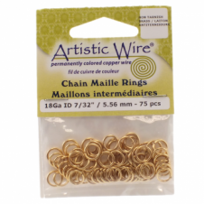 "5.56mm (7/32"") Artistic Wire Chain Maille Rings - 18 Gauge - Non Tarnish Brass"
