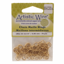 "5.95mm (15/64"") Artistic Wire Chain Maille Rings - 18 Gauge - Non Tarnish Brass"