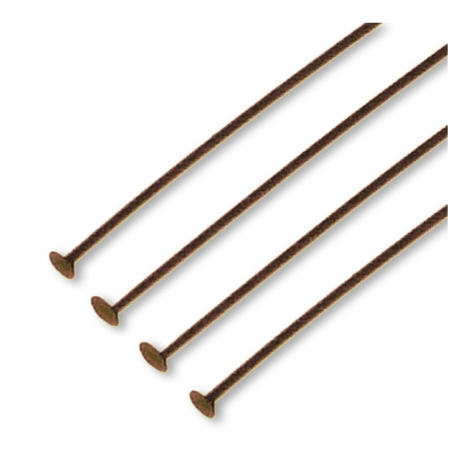 50mm Headpins Findings - Antique Copper Plated - 100pk