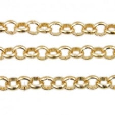 5x5mm Steel Large Belcher Chain - Gold Plated - 1m