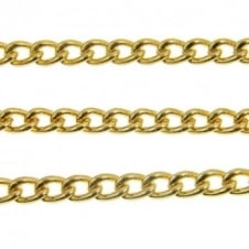 5x6mm Medium Steel Curb Chain - Gold Plated - 1m