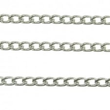 5x6mm Medium Steel Curb Chain - Silver Plated - 1m