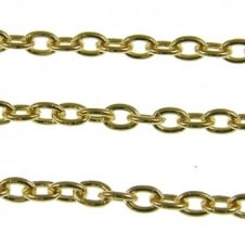 5x7mm Medium Steel Trace Chain - Gold Plated - 1m