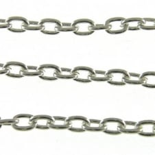 5x7mm Medium Steel Trace Chain - Silver Plated - 1m
