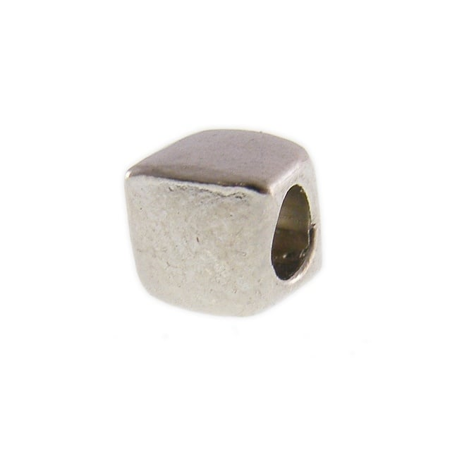 6mm Cube Spacer Bead - Antique Silver Plated - 20pk