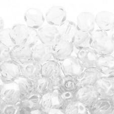 6mm Czech Faceted Round Glass Bead - Crystal - 50pk