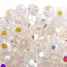 6mm Czech Faceted Round Glass Bead - Crystal AB - 50pk