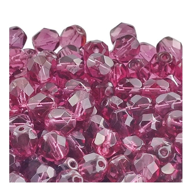 6mm Czech Faceted Round Glass Bead - Dark Fuchsia - 50pk
