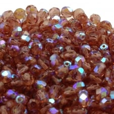 6mm Czech Faceted Round Glass Bead - Dark Peach AB - 50pk