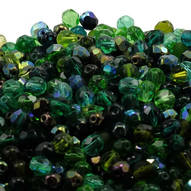 6mm Czech Faceted Round Glass Bead - Evergreen Mix - 50pk