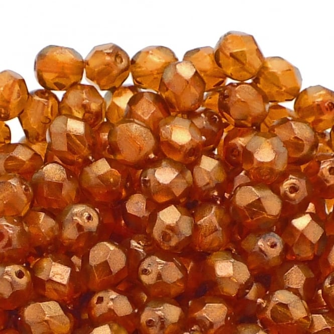 6mm Czech Faceted Round Glass Bead - Halo Sandalwood - 50pk
